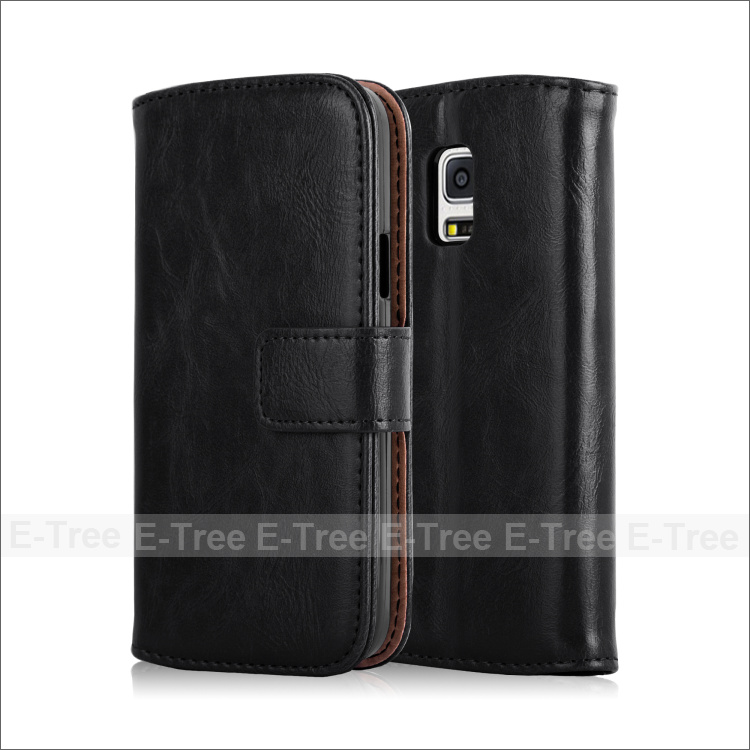 Luxury Leather Phone Case Folio Cover For Samsung Galaxy S5 Mini