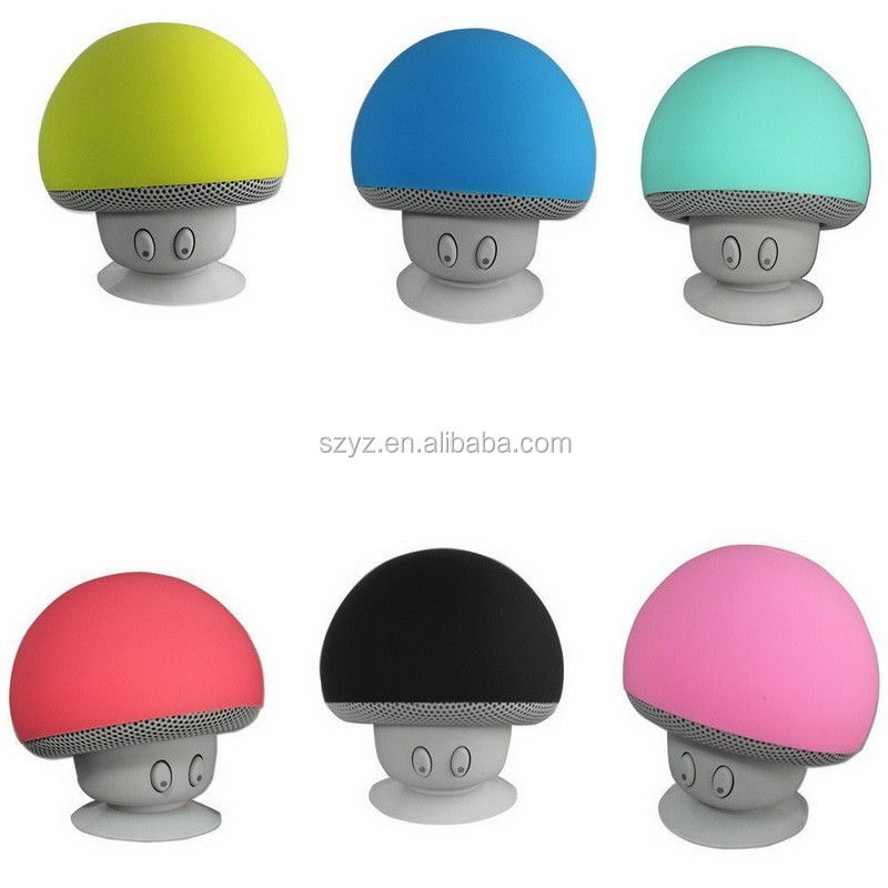2016 Wireless Bluetooth Waterproof Silicon Suction Cup Handfree Mini Mushroom Speaker for Iphone ipad