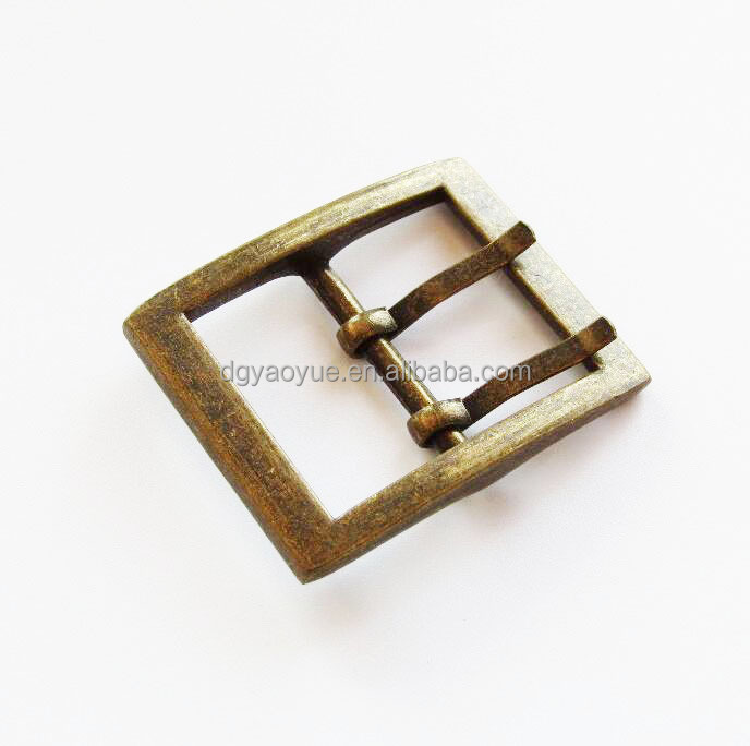 anti brass metal double pin buckle for Mens Belt