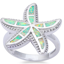 Unique Beautiful Hawaiian style Jewelry 925 Sterling Silver Fire Opal Sea Starfish Ring For Women