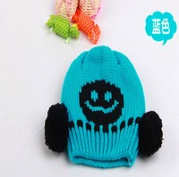 wholesale Crochet Pom Pom Free Pattern Baby Boy Beanie animal knit hat