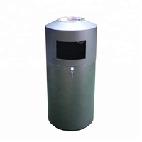 Outdoor round metal trash bin with ashtray