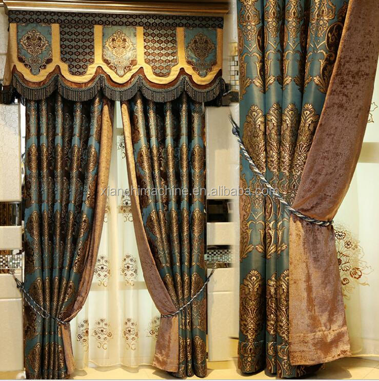 Antique French Style Living Room Pleat Blackout Curtains with Attached valance