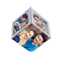 good quality acrylic rotating photo cube frame RF-002
