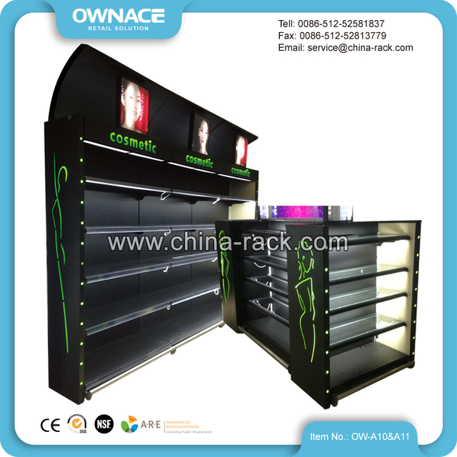 Cosmetic Lotion Display Advertising Shelf with LED Light Box