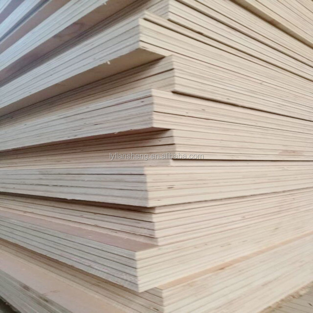two times hot press Cheap 3-25mm Furniture plywood from linyi