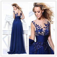 Elegant Women Dresses Sleeveless Sheer Neck And Back Appliques Embroidery Designs Chiffon Sexy Navy Blue Long Evening Dresses