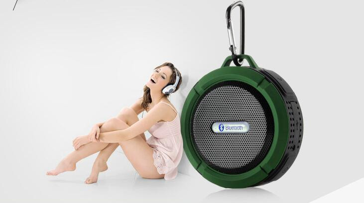 Shenzhen mini mushroom waterproof bluetooth stereo shower speaker with microphone