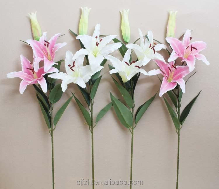 Cheap decorative products Artificial Single Sanding Lily Flower in factory price