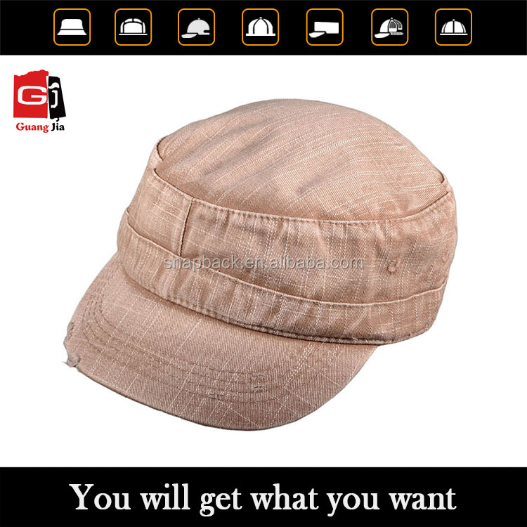 Wholesale vintage distressed denim washed casttro hats/military blank cap