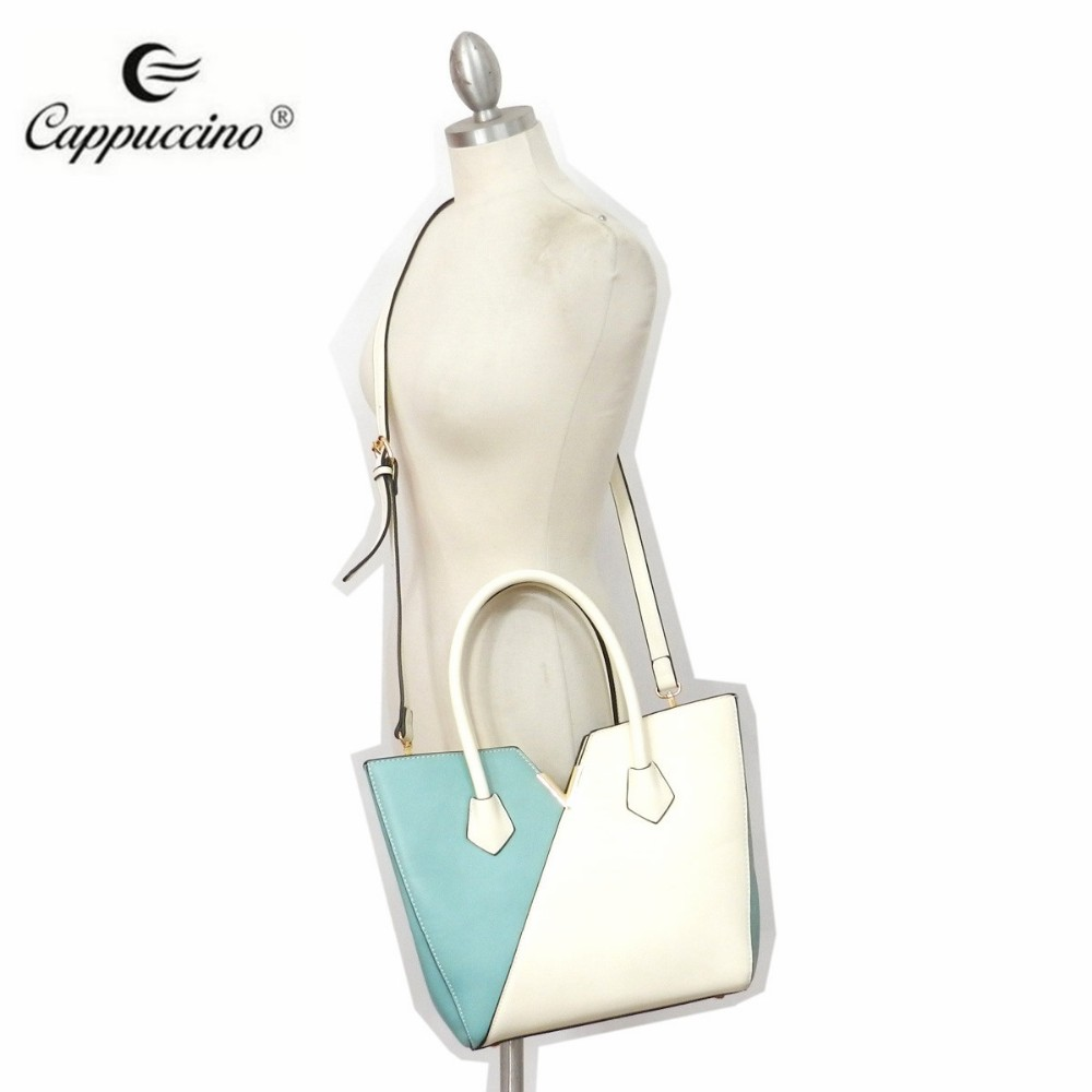 mature On shopping Custom Wholesale PU Fashion Popular Woman Tote Hand Bag for lady new V Colorblock Shopper handbag