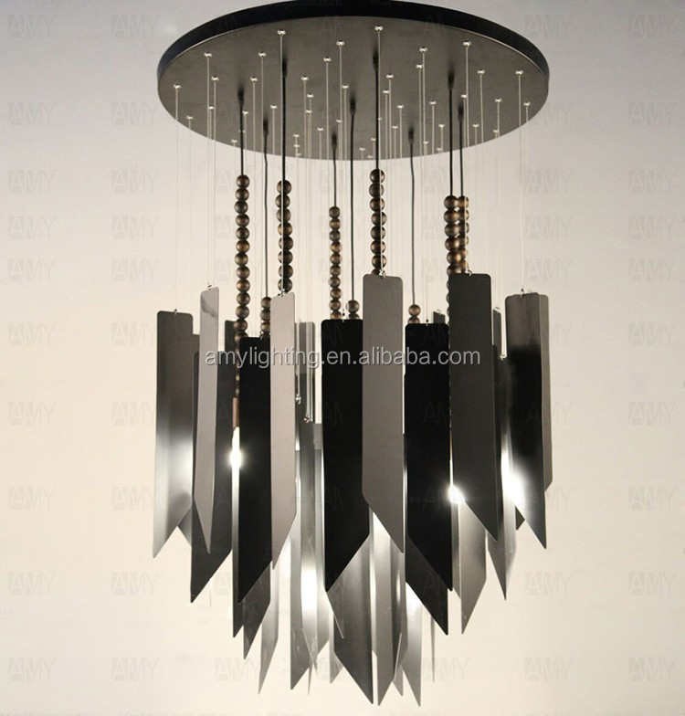 Exclusive minimalist Wooden Metal Strip E14 Flush-Mount suspended ceiling Chandelier