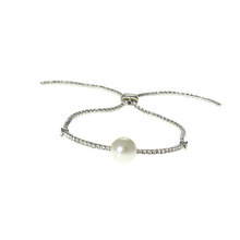Adjustable silver Infinity symbol clear rhinestone Infinity crystal pearl slide bracelets for women