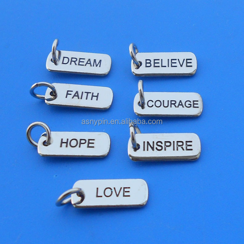 Engraved letters logo jewelry charms pendant--dream/faith/believe/love