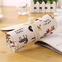 Fashion 72 Hole Cartoon Animal Zoo Canvas Wholesale Pencil Holder Case