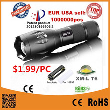 USA EU Hot E17 XM-L T6 3800LM Aluminum Waterproof Zoomable LED Flashlight Torch light for 18650 Rechargeable or AAA Battery