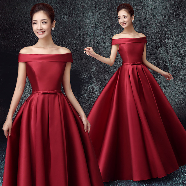 Off shoulder satin solid color pleat traditional bridesmaid dress patterns