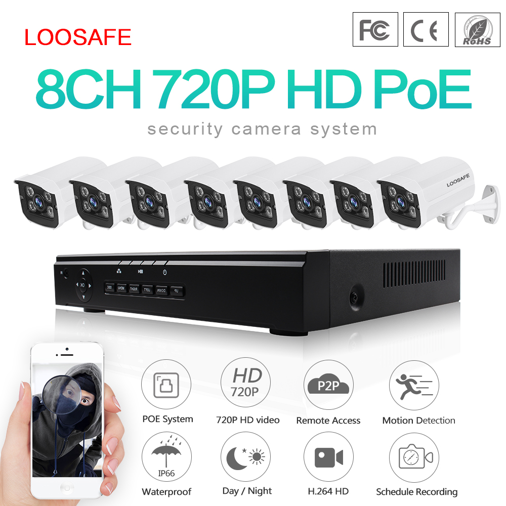 Loosafe 8ch 1.0mp cheap home mini poe security ip camera nvr kit camera systems p2p cloud
