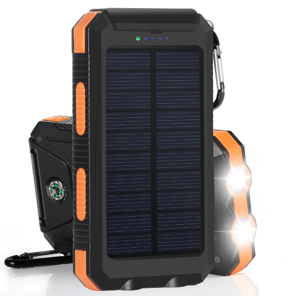 Waterproof 20000mah solar mobile power with Double lamps and compass