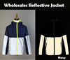 Wholesales 100% polyester Navy Grey Style Reflective Safety Zip up Jacket