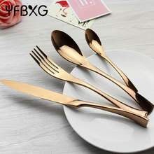 western rose gold plated coating full stainless steel cutlery set flatware dinnerware set tableware set