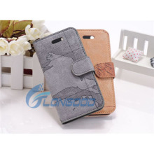 World Map Pattern Horizontal Flip Button Leather right open case for iphone5 5G