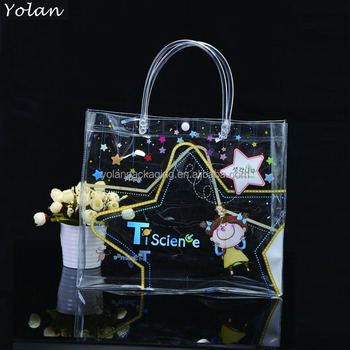 fashion clear PVC shopping bag ,transparent PVC bag for packaging wholesale