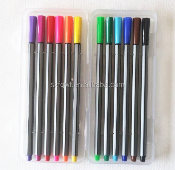12 colors fine liner pen with metal tips water color pen