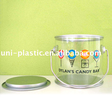 Wholesale 110x127mm clear plastic bucket mini craft paint can