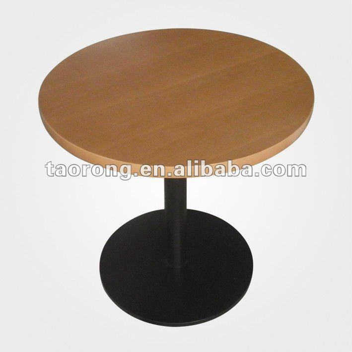 TA-046-1 high quality round solid wood restaurant table with metal base