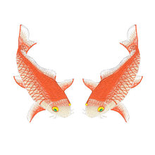 Big size fish embroidery design cotton repair decoration iron on patches for coat jackets and bags