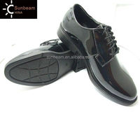 Best quality glossing shined black leather military office uniform shoes / black leather men dress shoes