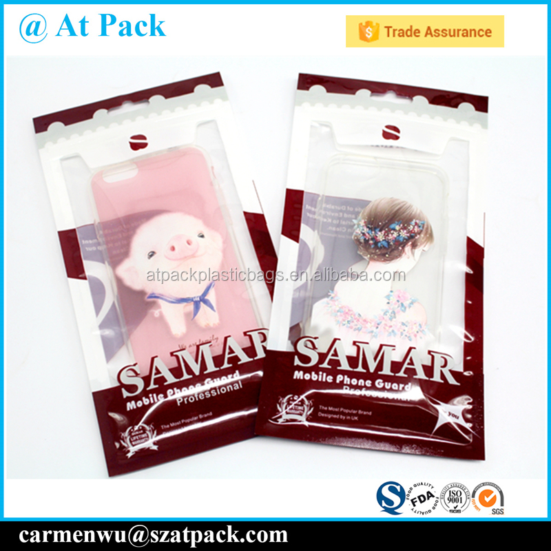Custom printed mobile phone case packing bags with ziplock