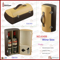 special design leather wholesale wooden 2 pack wine box