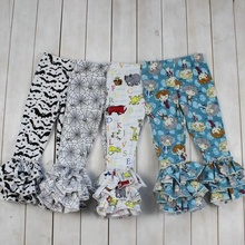 Baby Girls Spring Summer Wholesale Boutique Pants Flower Kids Tripe Ruffle Icing Pants For Girls