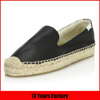 Best price stylish new design comfortable high quality black genuine leather upper wholesale woman slip on rope soled shoes