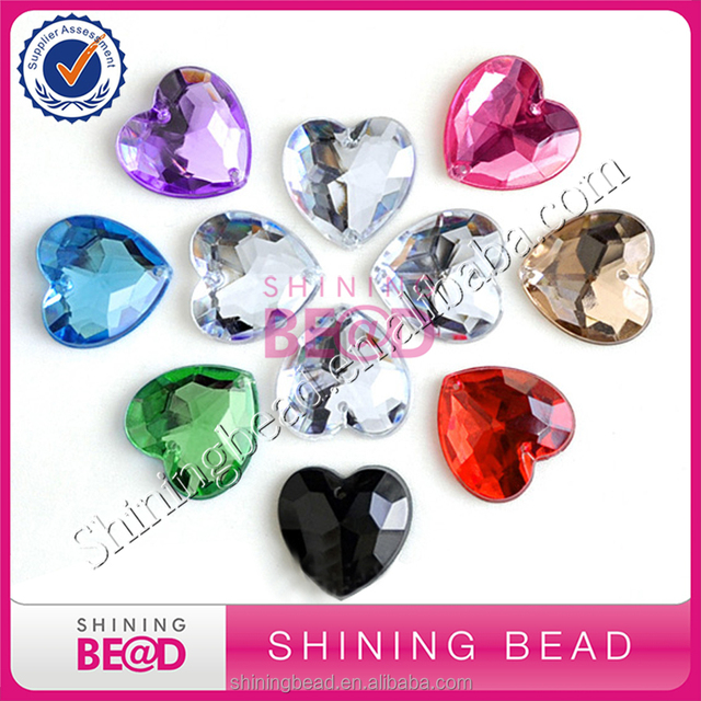 Wholesale flat back heart shape acrylic rhinestones