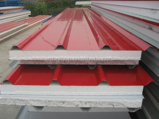 heat resistant roof material eps / rockwool / pu sandwich panel