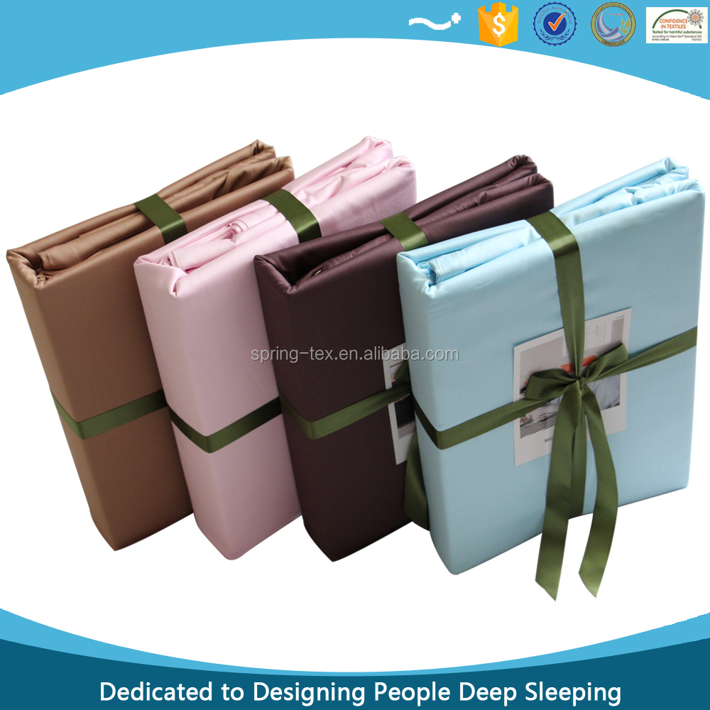 Made in China Super Quality Luxury 60s Egyptian Cotton Bed Linen Sheet Set in Solid Colors