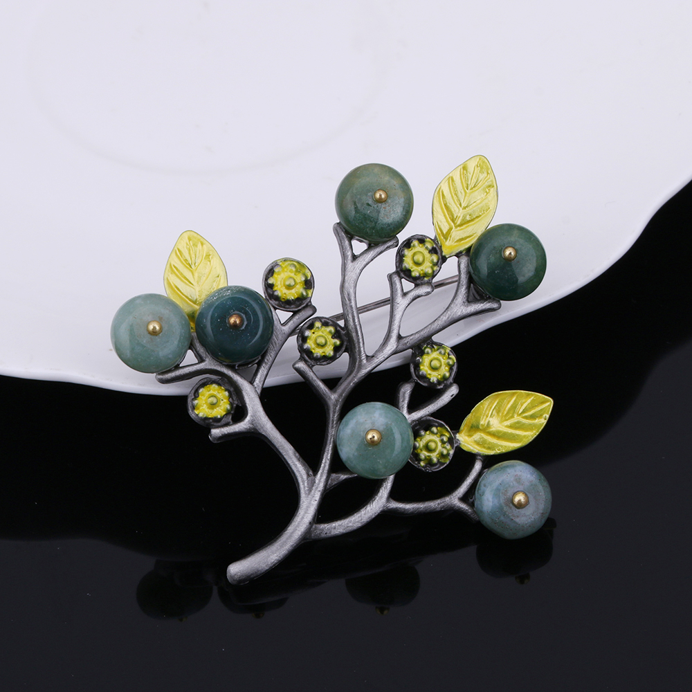 Vintage Women Brooches & Pins Jewelry Tree Twig Brooch Stone Beads Fashion Anniversary Souvenirs
