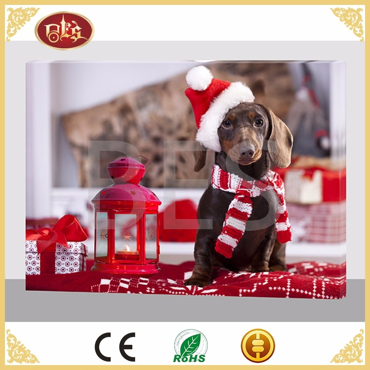 BES Gift Cute Christmas Dog 16x20 LED Prime Artist Canvas