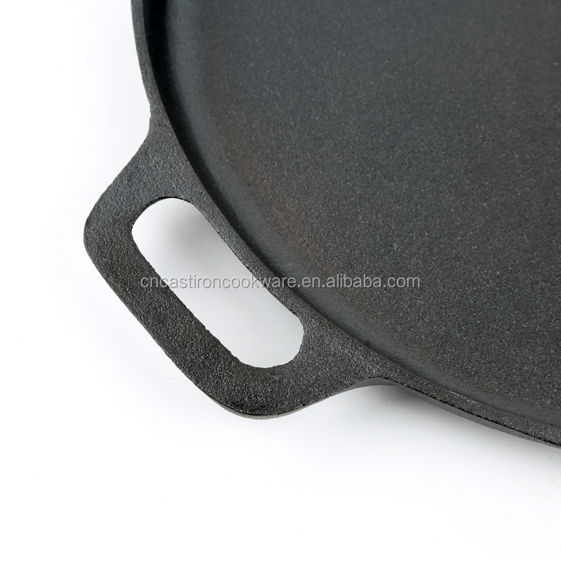 2016 Hot sale Non-stick Round Cast Iron Pizza Pan Tray With Two Ears Baking Pan Cake Pan