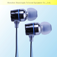 Factory directly offer in-ear mental mobile phone and computer earphones & headsets with mic, flat cable phone earbuds