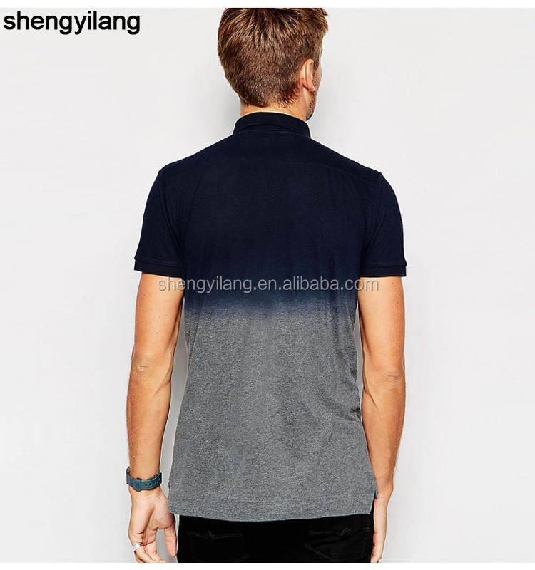 high quality best seller two colour dip-dye/tie dyed polo shirt for men from China