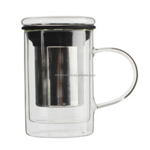 Hot Selling Products Reusable Borosilicate Double Wall Glass Cups Stainless Steel Tea Infuser Safe Microwave Oven / Dishwasher