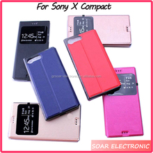 window design wallet leather cover for Sony XC view flip cover case for Sony X Compact