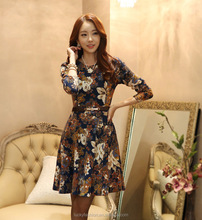 Manufacturer China High Quality Women Sexy Fashion Print Floral Cotton Flower Casual Lady Fancy Dress