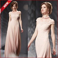 Wholesale Coniefox 30651 Fancy Pink Short Sleeve Lace Bridesmaid Gowns Ready to Ship