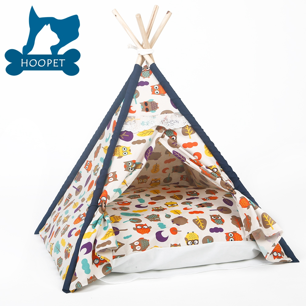 Soft Pet Tent Outdoor Wooden Teepee Washable Durable Foldable Dog Bed