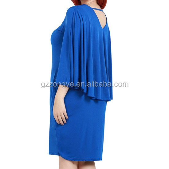 Wholesale casual dress plus size beautiful lady one-piece plain blue women's bat dresses